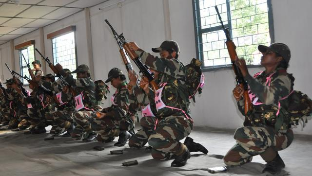 The Assam Rifles inducted 100 women after a year-long training programme at the Assam Rifles Training Centre and School in Nagaland. (HT Photos)