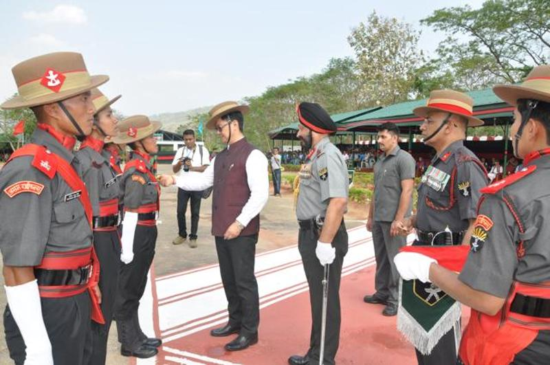 Union minister of state for home, Kiren Rijiju at the passing-out parade of the first batch of women recruits of Assam Rifles in Nagaland. (HT Photos)