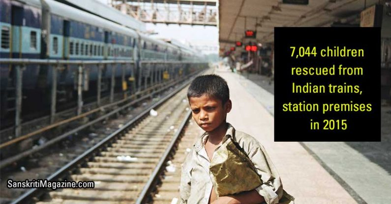 7,044 children rescued from Indian trains, station premises in 2015