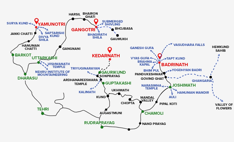 char-dham-yatra-route-map
