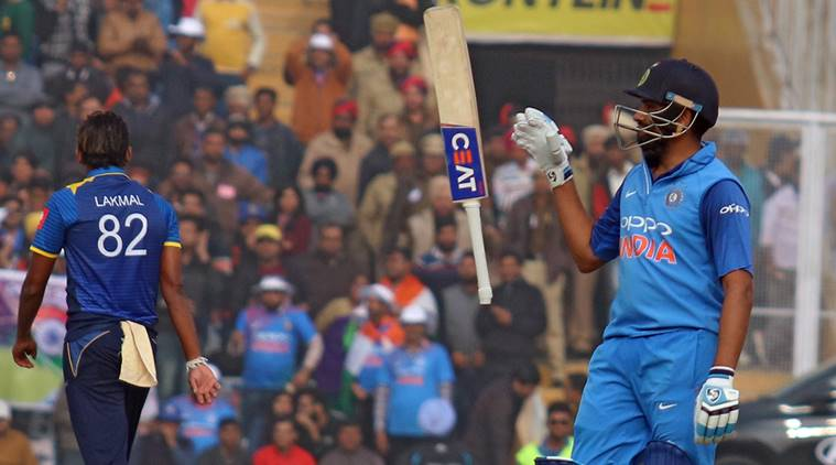 Rohit Sharma in action during 2nd ODI match against Sri Lanka Played at IS Bindra PCA stadium in Mohali on Wednesday, 13 December 2017. Express Photo by Kamleshwar Singh
