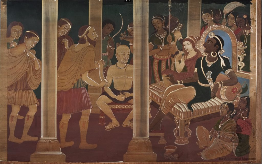 Emperor Chandragupta Maurya receiving the famous Greek Envoy Megasthenes at his court in Patliputra