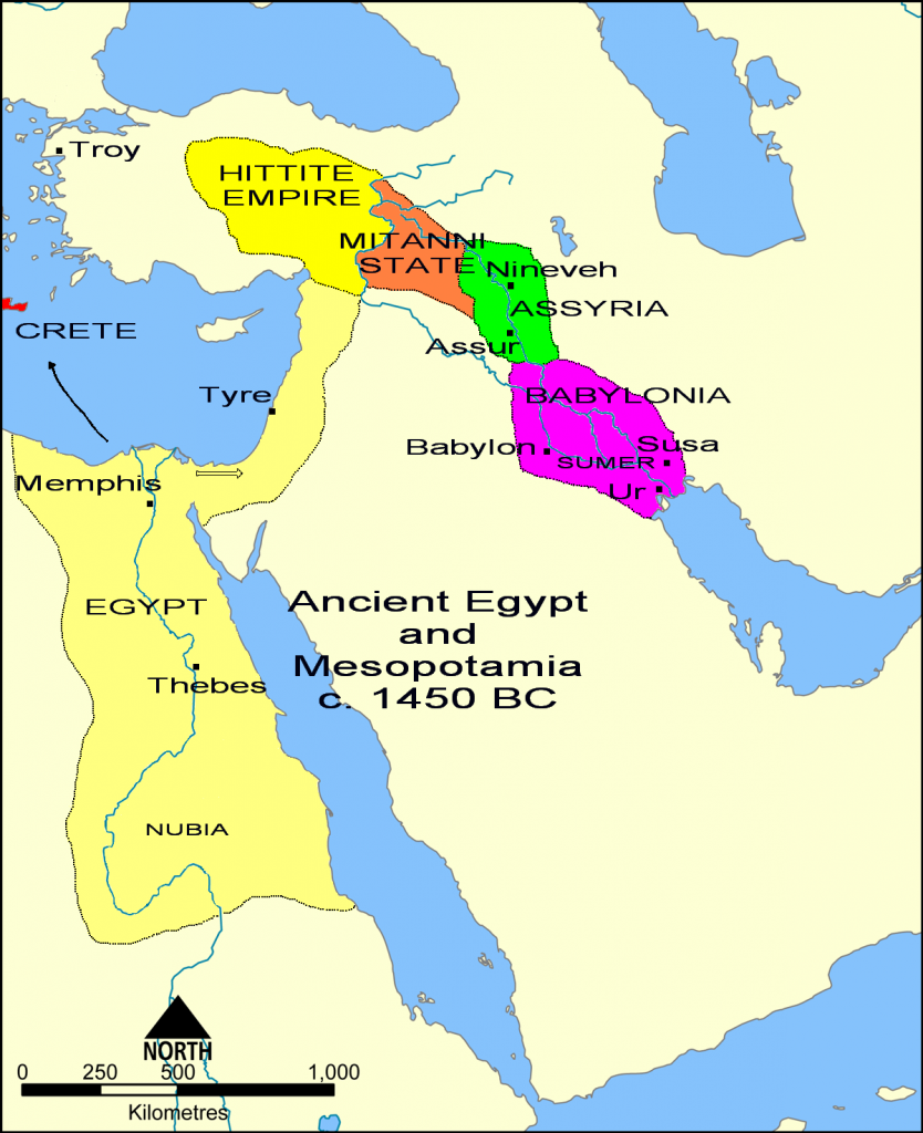 Ancient_Egypt_and_Mesopotamia_c._1450_BC_Wikimedia-Commons