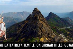 Lord-Dattatreya-Temple,-on-Girnar-Hills-in-Junagadh,-Gujarat